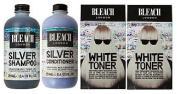 (4 PACK) Bleach Lodon Silver Shampoo x 250ml & Bleach London Silver Conditioner x 250ml & Bleach London White Toner Kit x 2