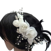 rougecaramel - Hair Accessories - Flower Comb with Gemstones and Pearls - White