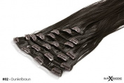 Meralens Clip-In Hair Extensions - Heat Resistant like Real Hair XXL Hairpiece Set - Straight Hair in 60 cm Length
