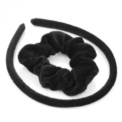 GIZZY® Ladies, Girls Black Velvet Headband and Hair Scrunchy Set.