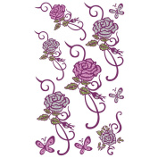 TAFLY Women Small Silver Pink Glitter Rose Design Body Art Temporary Tattoos Stickers 5 Sheets