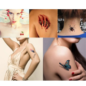TAFLY Fake Waterproof Tattoo Stickers Body Art Temporary Tats-Designs,Feathers,Butterfly,Fruit,Spider