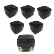 Perfectos Pack of 6 black squares lid 5 ml Acrylic Clear Empty Container Cosmetic