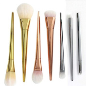 7pcs Pro Real Metal Techniques Brush Facial Blush Foundation Cosmetic Makeup Tool