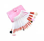 E-Beshiny 20 pcs Professional White Rod Makeup Brush Cosmetic Set Kit with Pink Synthetic Leather Case