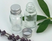 10ml CLEAR Glass Bottles with Silver Aluminium Screw-on Lids - PACK of 8