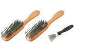 2 Comair Brushes Boar Bristles 5 Row and Brush Cleaner