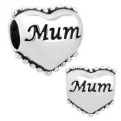 Mum Engraved Love Heart Charms Sale Cheap Charm Beads Fit Pandora Charms Bracelets