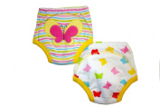 Beautiful Butterfly Potty Training Pants - PACK OF 2 (Medium 1.5-2 years) Size 11-12kg Inner Waterproof Layer, 100% Cotton, Embroidered Detail