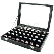H & S® Glass Lid 72 Ring Jewellery Display Storage Box Tray Case Organiser - Black