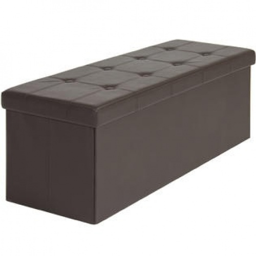 faux leather folding storage ottoman large brown bench