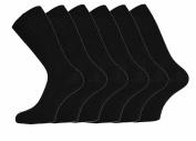 Mens 100% Cotton Non-Elastic Loose Wide Top Socks, Size 6-11 UK Black