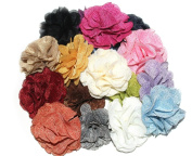 (12 pcs) JLIKA Burlap Flowers Embellishments Fabric Flowers Weddings Hair DIY, Large 7.6cm , Assorted Colour Mix Grab Bag