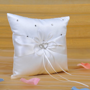 Remedios Ivory Satin Wedding Ring Bearer Pillow with Double Heart Decoration