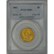1861 $5 Half Eagle Gold Coin PCGS MS64