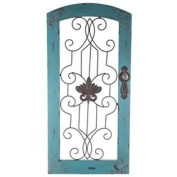Distressed Turquoise Wood & Metal Wall Decor