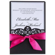 Hot Pink & Black Laser Cut Wedding InvitationsNew by