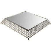 Nickel Square Cake Stand with Clear CrystalsNew by