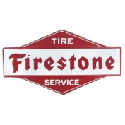 Firestone Tyre Service Embossed Die Cut Tin SignNew by