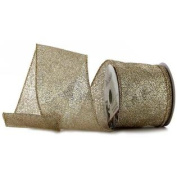 6.4cm Gold Glitter Wired Edge RibbonNew by
