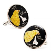 Penny Black Coins PB-189-SL Hand Painted Idaho State Quarter Cufflinks