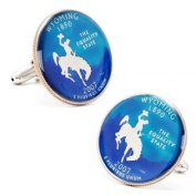 Penny Black Coins PB-191-SL Hand Painted Wyoming State Quarter Cufflinks