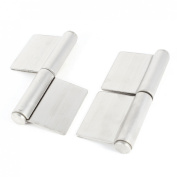 2 Pcs 13cm Stainless Steel Door Flag Type Hinges Silver Tone
