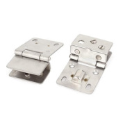 Showcase Cabinet Glass Wall Mounted Metal Pivot Door Hinge Clamps Clip 2 Pcs
