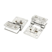Cabinet Wall Mounted 10mm Thickness Alloy Glass Door Hinge Silver Tone 2PCS