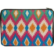 Stitch & Zip Needlepoint Purse/Cosmetic Case-Sz610 Ikat