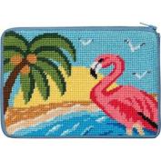Cosmetic Purse - Flamingo - Needlepoint Kit