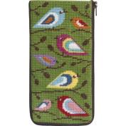 Stitch & Zip Needlepoint Eyeglass Case-Sz474 Birds Of Colour