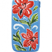 Stitch & Zip Needlepoint Eyeglass Case-Sz472 Red Floral