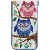 Stitch & Zip Needlepoint Eyeglass Case-Sz480 Owls