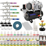 6 AIRBRUSH NAIL ART PAINT STENCIL KIT-w/Tank Compressor