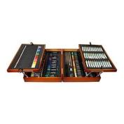 US Art Supply® Wood Painting Box Set, 36 Acrylic Paint Colour Tubes, 34 Colour Pencils, 42 Felt Pens, 52 Chalks, Pencils,