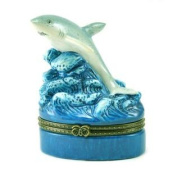 Coastal Blue Waves Jaws Shark Ocean Animal Hinged Porcelain Trinket Box