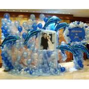 (Price/1 Set)GOGO Wedding Balloon Set, Dolphin Balloons, Balloons With Ribbon & Inflator, Ocean Theme