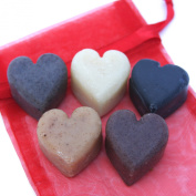 Bogue Milk Soap- Valentines Heart Soap Gift Bag- Assorted Styles of Handmade Artisanal Goat Milk or Almond Milk Soap Hearts-no Artificial Additives, Preservatives, Dyes or Fragrances