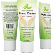Pure Hand Cream for Dry and Cracked Skin with Shea Butter & Vitamin E - Fragrance Free Hands Moisturiser for Men and Women - Travel Size (120ml) - By Honeydew