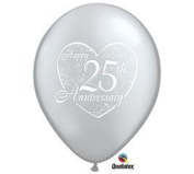 25th Anniversary Printed Latex Balloons Pack of 50 by Qualatex