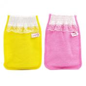 Body-scrub Glove (mitten Type) By Koreatrends (Pink Glove (1p) + Yellow Glove