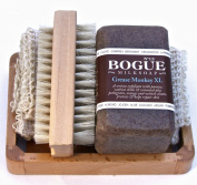 Bogue Milk Soap - Grease Monkey XL 180ml Soap Gift Set- Three Aggregate Soap to Exfoliate, Remove Grease & Smells with Essential Oils of Orange, Petigrain & Vetiver to Heal Cuts & Abrasions. Sisal Cloth, Nail Scrubber and Tray Included