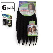 6 Pack of Janet Collection Havana Medium Mambo Twist Braid 30cm Colour 1B