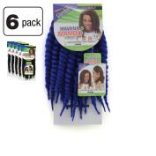 6 Pack of Janet Collection Havana Medium Mambo Twist Braid 30cm Colour D Blue