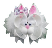 "NEW ""EASTER BUNNY"" Fur Ribbon Sculpture Girls Hairbow Alligator Clip Clippie Easter Holiday Rabbit Boutique Spring Egg Hunt Party"