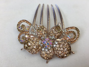Gorgeous Rosegold-tone Hair Jewellery Flowers Pattern Crystal Rhinestone Hair Pin Hair Barrette Hair Clips Hair Clip Comb -Medium - Crystal Amber Colour