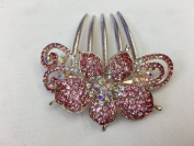 Gorgeous Rosegold-tone Hair Jewellery Flowers Pattern Crystal Rhinestone Hair Pin Hair Barrette Hair Clips Hair Clip Comb -Medium - Crystal Pink Colour