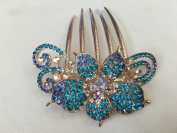 Gorgeous Rosegold-tone Hair Jewellery Flowers Pattern Crystal Rhinestone Hair Pin Hair Barrette Hair Clips Hair Clip Comb -Medium - Crystal Blue Colour