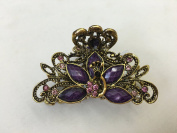 Gorgeous Vintage Jewellery Crystal Rhinestone Peacock Design Fashion Hair Claw Clips Hair Jaws Hair Jaw Clips - Large Size - Amethyst Colour -For Hair Beauty Tools